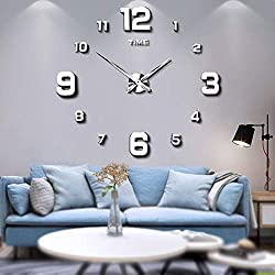 Mintime Modern Frameless DIY Wall Clock Large 3D Wall Watch Mirror Numbers for Home Office Decorations (2-Year Warranty) (silver-005)
