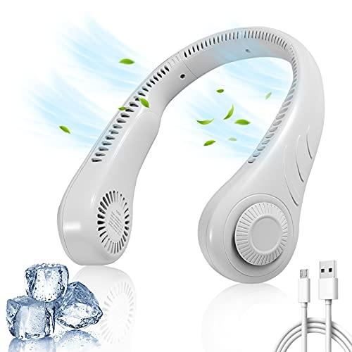 Asionper Ventilador de cuello portátil con 3 velocidades de flujo de aire 360° refrigeración manos libres mini ventiladores personales USB recargable sin aspas diseño auricular