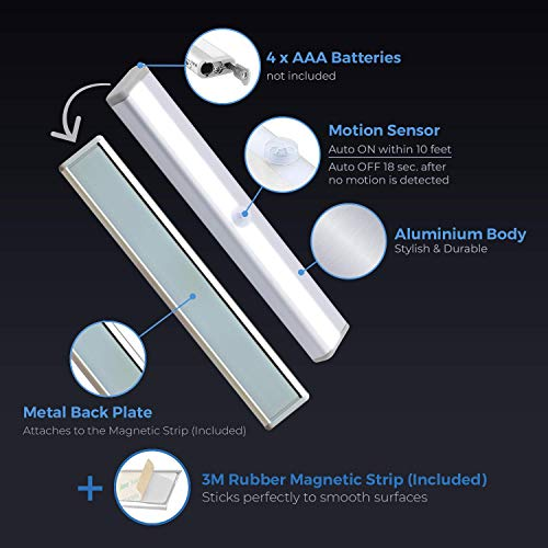 Motion Glow LED Under Cabinet Lighting - Portable Stick-On Under Counter Lighting - Under Cabinet Light with Motion Sensor Light for Indoor Use in Safe, Kitchen Pantry, Stairs (2 Pack)