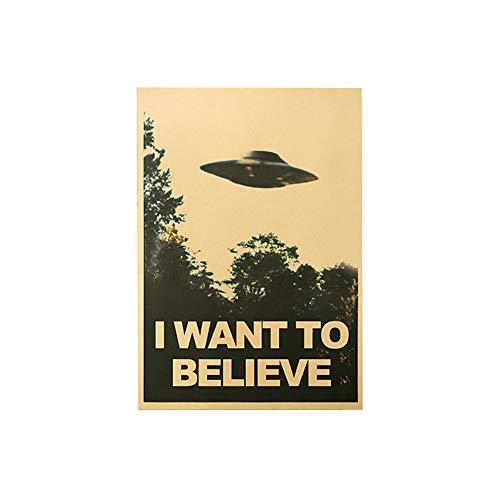 bdrsjdsb 50,5x35 cm Ich Will Glauben Vintage UFO Kraftpapier Malerei Poster Wandaufkleber Wohnkultur