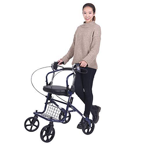 QINAIDI Andador de Movilidad con Ruedas de Asiento y 6 Pulgadas, Andador de Cuatro Ruedas Drive Medical, Andador de Transporte Plegable para Adultos,Blue
