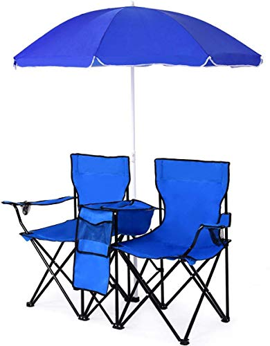 ReunionG Double Portable Camping Chairs, Outdoor Picnic Folding Chairs with Removable Umbrella & Mini Table Carrying Bag, Shade Chair for Beach, Patio, Pool, Park