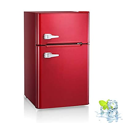 Kismile Double Door 3.2 Cu.ft Compact Refrigerator with Top Door Freezer,Freestanding mini Fridge with Adjustable Temperature,Upright Freezer for Apartment,Home,Office,Dorm or RV (Red)
