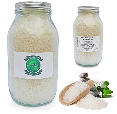Earthly Wisdom Lujosos aceites aromáticos, sales de baño del mar Muerto en remojo (B y flor de olivo, 600 g) 9 frascos diferentes. Ideal para relajar los músculos al bañarse.
