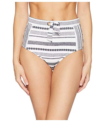 Tommy Bahama Womens Sandbar Stripe High-Waist Pants Bikini Bottoms White Size Medium