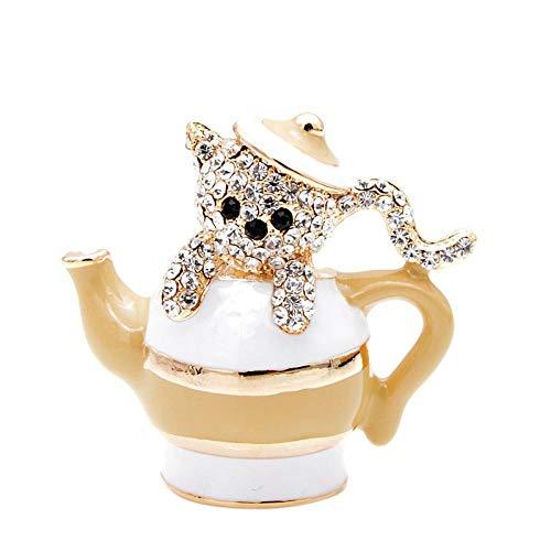 Broches Y Alfileres para Mujer Broches De Tetera Y Gato De Diamantes De Imitación para Mujer Lindo