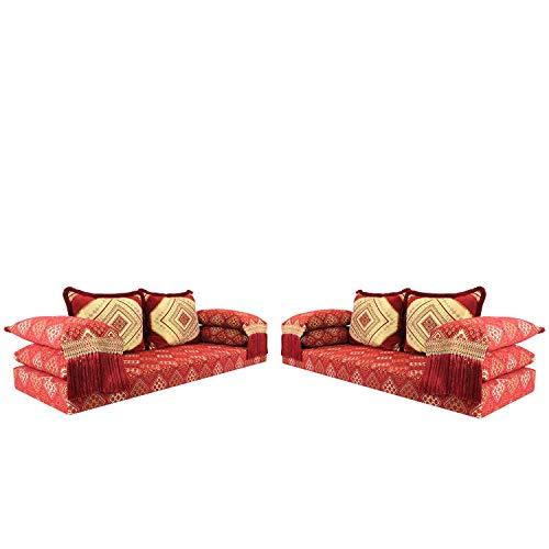 Arabisches Sofa marokkanische Sitzgarnitur Set Oman rot 15 Set 200x70cm Sitzhöhe 15cm inkl. Füllung mit 4 Rücken- & 4 Lehnenkissen   Eine Wohlfühl-Oase aus Marrakesch   Majlis Shisha Lounge   MO5026