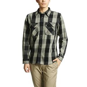 [アビレックス] シャツ 長袖 デイリー フランネル ブロックチェックシャツ 6115071 メンズ GRAY XL