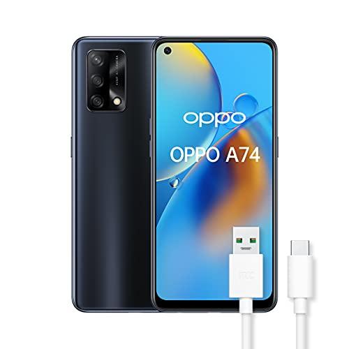 OPPO A74 Smartphone, 175g, Display 6.43  AMOLED, 4 Fotocamere 48MP, RAM 6GB + ROM 128GB, Batteria 5000mAh, Ricarica rapida, Dual Sim, con cavo dati OPPO Tipo-C, [Versione Italiana], Prism Black