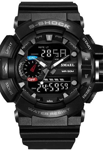 Hombre Reloj Deportivo Militar Digital Japonés Calendario/Cronógrafo/PU/Silicona Banda Casual/Resistente a los Golpes/Resistente al Agua (Negro/Gris)