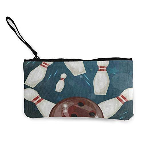 Unisex Wallet, Coin Bags, Canvas Coin Purse Vintage Sport Bowling Ball Customs Zipper Pouch Wallet for Cash Bank Car Passport