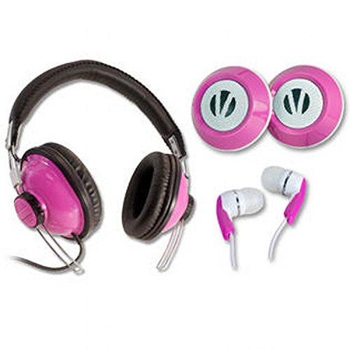 Vivitar 3-in-1 Audio Set With High-Definition Headphones, Twin Speakers and Earbuds - Pink