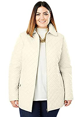 Jessica London Women's Plus Size Quilted Zip-Front Leather Jacket - 16 W, Ivory from Jessica London