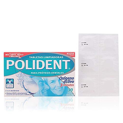 Polident Oxígeno Activo, Tabletas Limpiadoras para Prótesis Dentales, 3 Minutos, 30 Tabletas