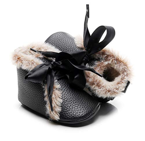 Bebila Winter Toddler Snow Boots - Lace up Baby Girls Boys Shoes Lace up Non-Skid Soft Sole Slippers Newborn Warm Ankle Fur Booties for Infant Newborn First-Walkers (0-3 Months, Black)