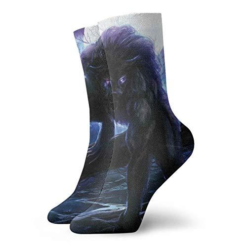 Calcetines suaves de media pantorrilla, hombre lobo surrealista con ojos eléctricos en...