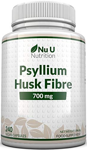 Psyllium Husk Capsules 700mg - 240 Vegan Capsules - 1400mg Per Serving - Natural Prebiotic Fibre Supplement from Plantago Ovata Seeds - Ispaghula Husk - Made in The UK