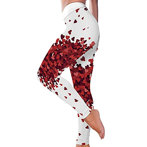 KJCWQ Leggings Deportivo para Mujer Glúteos Digitales En Forma De Corazón Rojo Pantalones Ajustados Deportes Yoga Fitness Todos Los Días Desgaste-White_XXXL
