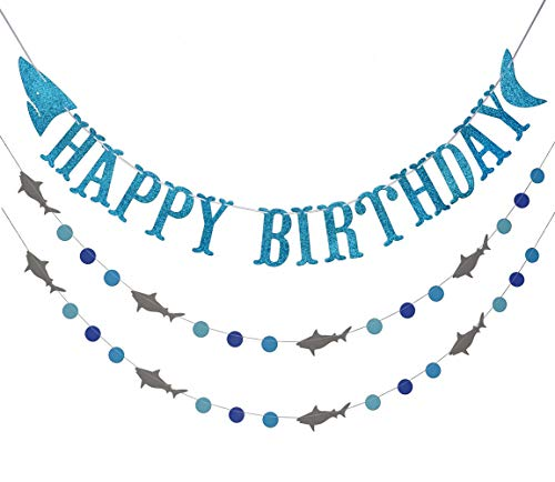 Shark Happy Birthday Banner and Shark Garlands, Ocean Beach Under The Sea Theme Party, Shark Party Supplies (Blue)