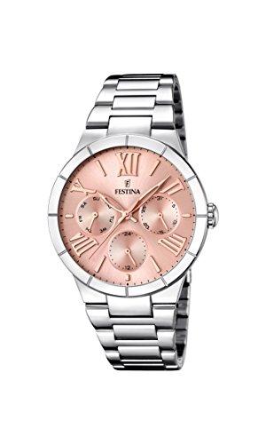 Festina F16716/3 - Reloj de cuarzo para mujer, con correa de acero inoxidable, color plateado