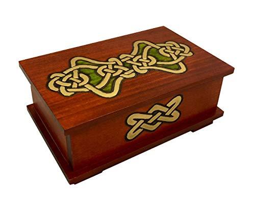 Gold Knot Decorative Wooden Box Secret Opening Celtic Puzzle Box Handmade Wood Keepsake Celtic Handmade Secret Jewelry Box Made in Poland