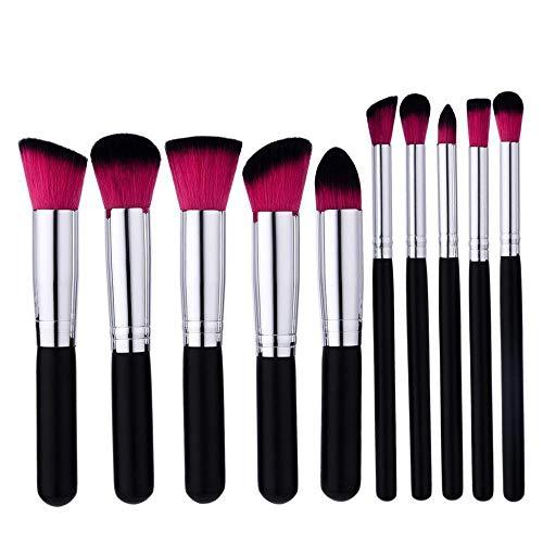 Juego de brochas de maquillaje para base – 10 brochas de maquillaje sintéticas de alta calidad suave para sombra de ojos (10 brochas de maquillaje negras)