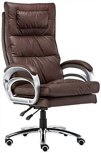 Silla giratoria de oficina con respaldo alto ergonómico para ordenador, altura ajustable, color marrón