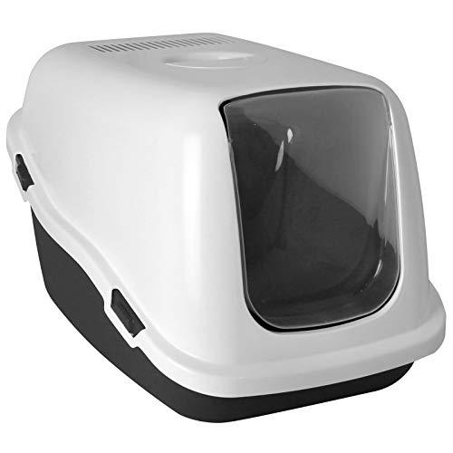 TW24 XXL Katzenklo mit Farbwahl Schalentoilette Katzentoilette mit Deckel Filter große Schwingtür (Weiß)