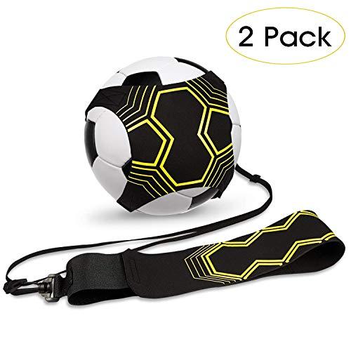 2er-Pack Fußball-Kick-Trainer, Fußballtrainingshilfe für Kinder und Erwachsene Freihändiges Solo-Training mit Gürtel Elastisches Seil Fußballübungen zur Verbesserung der Fähigkeiten