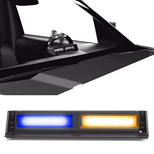 SpeedTech Lights Striker TIR 2 Head LED Strobe Deck Dash Windshield Mount Light Bar for Police, Security, and Emergency Vehicles Hazard Flashing Warning Lights with Cigarette Lighter Plug Blue/Amber
