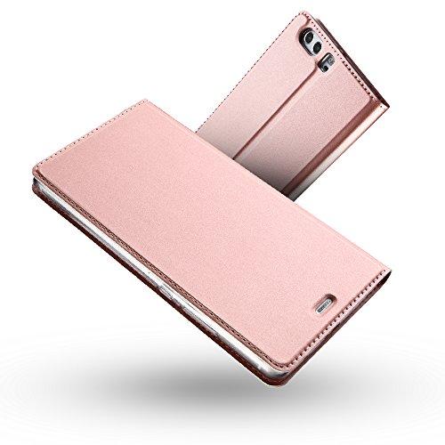Radoo Funda Huawei P10, Slim Case de Estilo Billetera Carcasa Libro de Cuero,PU Leather con TPU Silicona Case Interna Suave [Función Soporte][Cierre Magnético] para Huawei P10 (Oro Rosa)