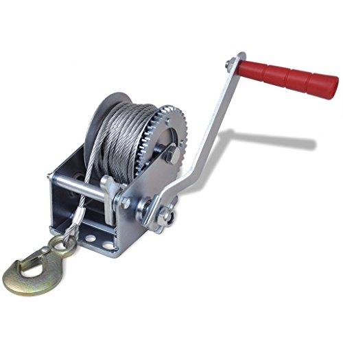 Festnight Cabrestante Manual de Arrastre Peso de Carga 363 kg / 800 lbs con 10m Cable y 4mm Diámetro
