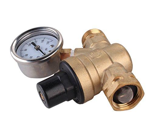 Water Pressure Regulator, Brass Lead-free Adjustable RV Water Pressure Reducer with Guage, By Velraptor (style 2)