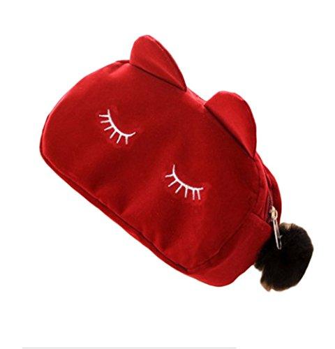 Gespout Sac cosmétique Changer bourse Femme Flocage Chat mignon d'anniversaire 23 * 5.5 * 11cm (Rouge)