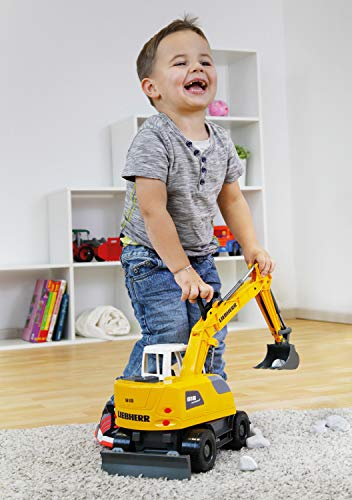 Lena Liebherr A918 Litronic Excavator Toy, Yellow and White, 1:15 Scale Model