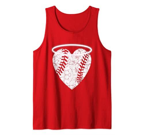 Corazón de béisbol de ángel vintage con halo Camiseta sin Mangas