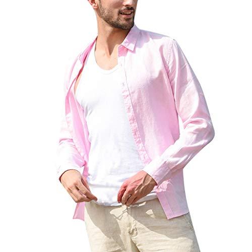 OUICE Homme Tee-Shirt Décontracté pour Homme en Coton Douton Lâche A Manches Longues A Rayures De Couleur Unie Chemise A Col rétro Chemise Confortable Tops