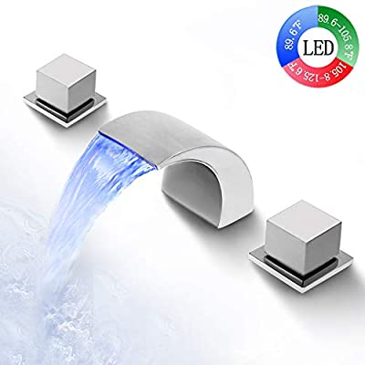 SKOWLL Waterfall Bathroom Faucet LED Waterfall Faucet Temperature 3 Colors Change Dual Handle 3 Holes Waterfall Spout Bathtub Faucet with Lights, Polished Chrome Finished