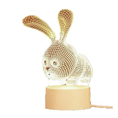 Creative gift nachtkastje lamp 3D nachtlampje LED bedlampje decoratie plug-in kleine tafellamp verjaardagscadeau konijn vormig USB,rabbit