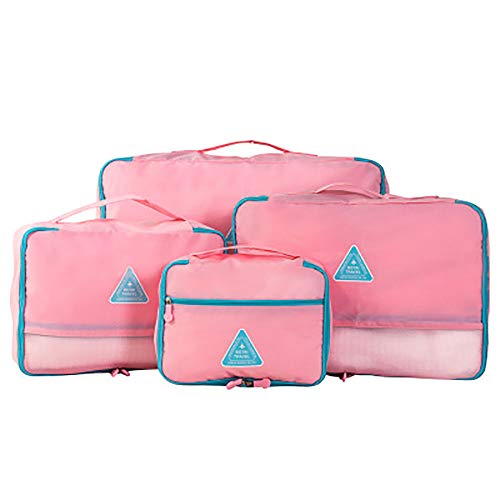 ROGF Travel Storage Bag Large Packing Cubes For Travel Luggage Accessories Organizers 4 Set For travel (Color : Pink)