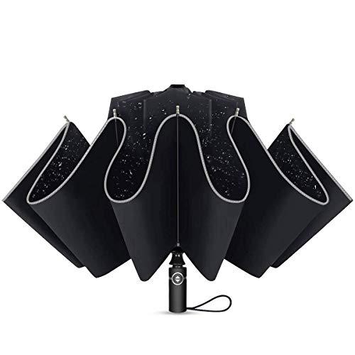 Regenschirm Taschenschirm mit 10 Rippen und Nachtreflektierende Streifen Auf-Zu-Automatik Sturmfest Windfest 140 km/h Kompakt Leicht Stabil Winddicht 210T Teflon Schirm für Reisen Business,Schwarz