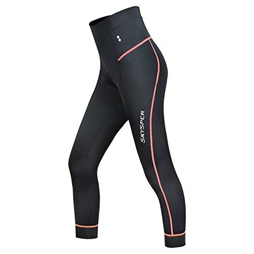 SKYSPER Pantalones Mallas de Ciclismo para Mujer 3/4 Culotte Deportivos con 3D cojín de Esponja Secado rápido Transpirable Leggings Medias para Bicicleta Ciclismo Bici Profesional
