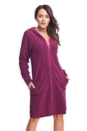 DOROTA kuscheliger und moderner Damen Baumwoll-Bademantel mit Taschen, Reißverschluss & Kapuze, made in EU (XL, fuchsia)