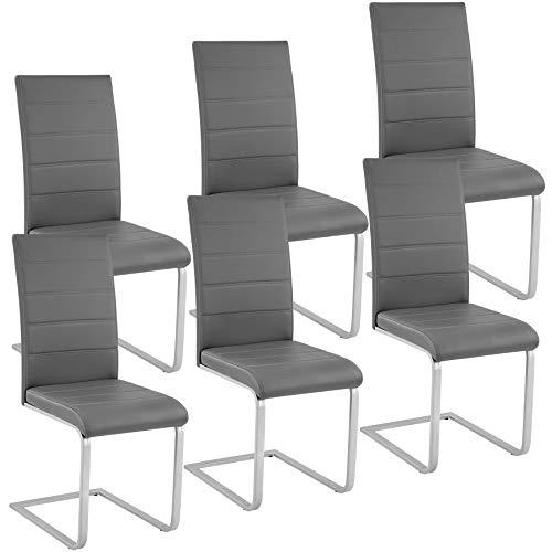 TecTake 6 Esszimmerstühle Schwingstuhl Set, Kunstleder - Diverse Farben - (Grau)