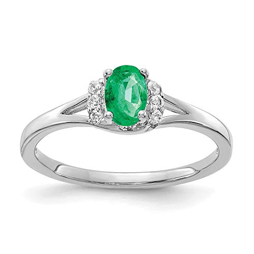 14k White Gold Diamond and Emerald Ring, Size 54