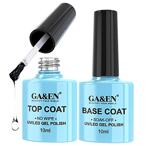 of nail base coats No Wipe Top Coat Base Coat Soak Off Set 10ml LED Lamp Cure Quick Dry Clear Shine Gloss Mirror Long Lasting Nail Art Gel Polish Resin Tested Formula For Home And Salon Use