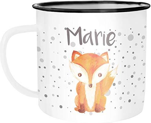 SpecialMe® Emaille-Tasse mit Namen Fuchs Motiv Emaille-Becher personalisierte Geschenke Frauen Mädchen Namensaufdruck weiß-schwarz Emailletasse