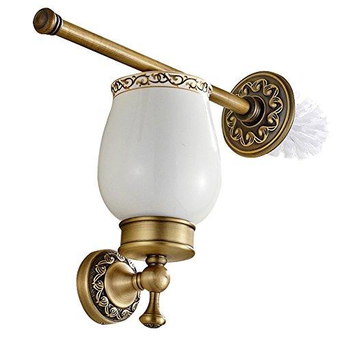 CASEWIND Toilettenbürstenhalter Antik, Klobürsten Messing, WC Bürste Set Keramik Vintage Retro Wandmontage mit Bohren Landhausstil