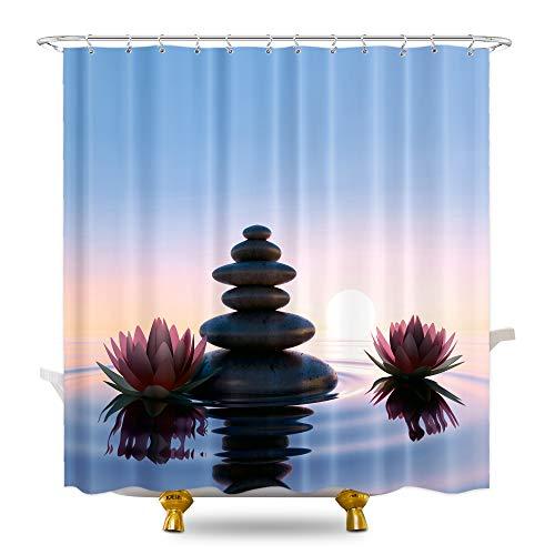 KOMLLEX Dark Lotus Flower Shower Curtain Set 60Wx72H Inch Rock Yoga Spa Pebble Stone Shower Curtain for Zen Bathroom Decor Asian Meditation Reflection Relaxing Fabric Polyester 12 Pack Plastic Hooks