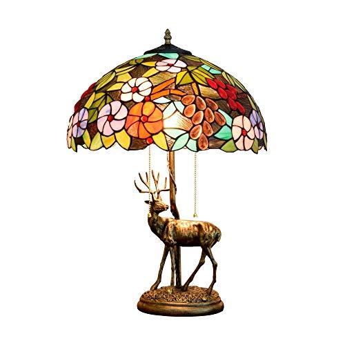 CENPEN 16' Lámpara de Estilo Americano Elk Base de la aleación Creativa de la UVA del vitral de Tiffany Sala de Estar Restaurante Bar Dormitorio Estilo Tiffany Cubierta de Noche lámpara de Mesa